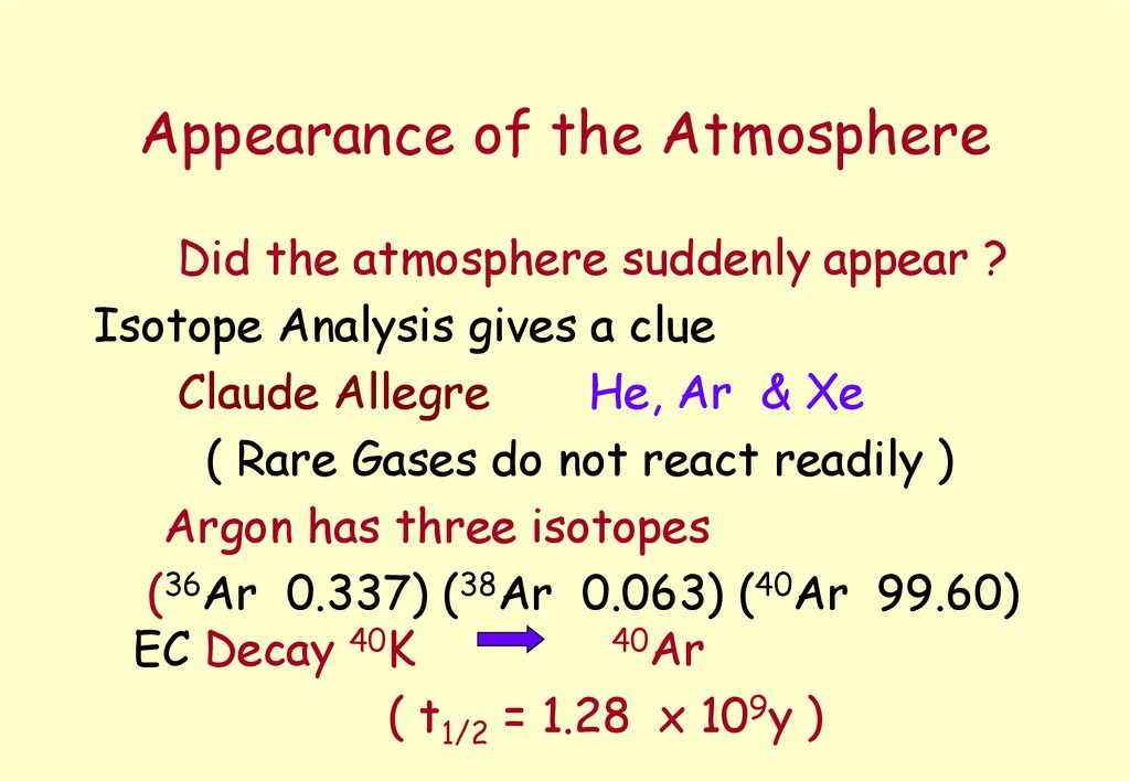 Appearance of the Atmosphere