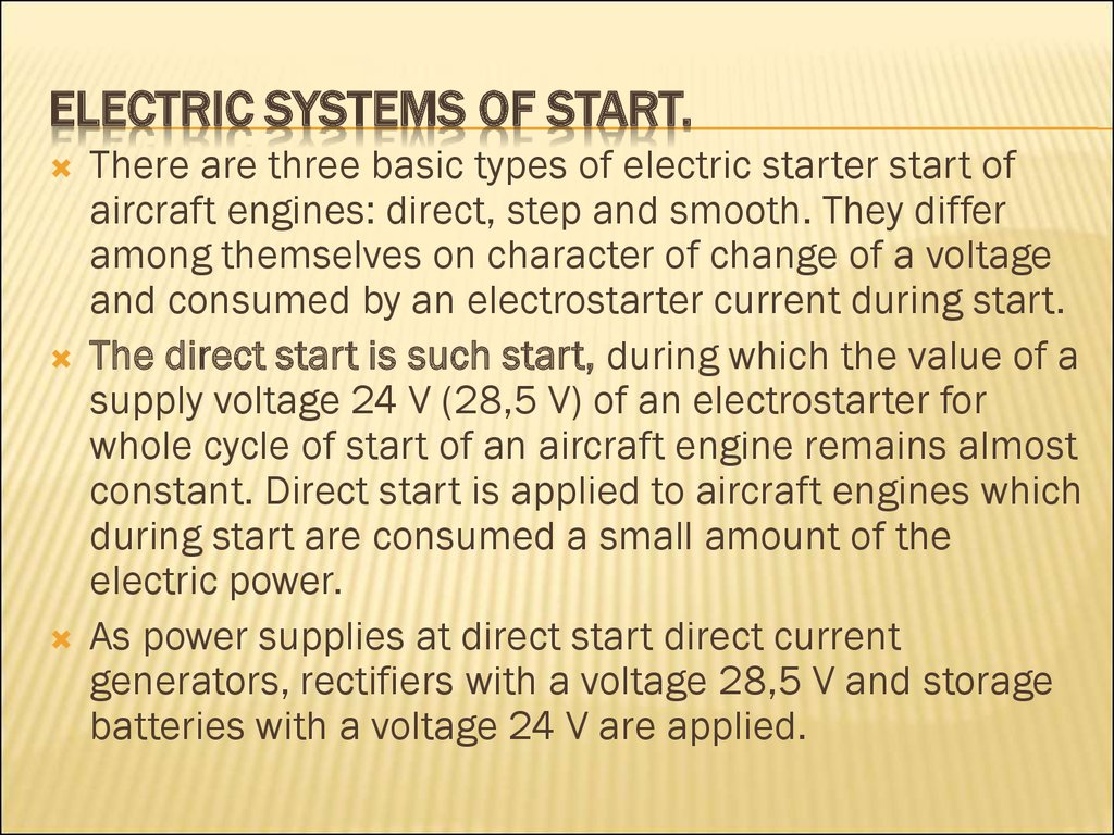 Electric systems of start.