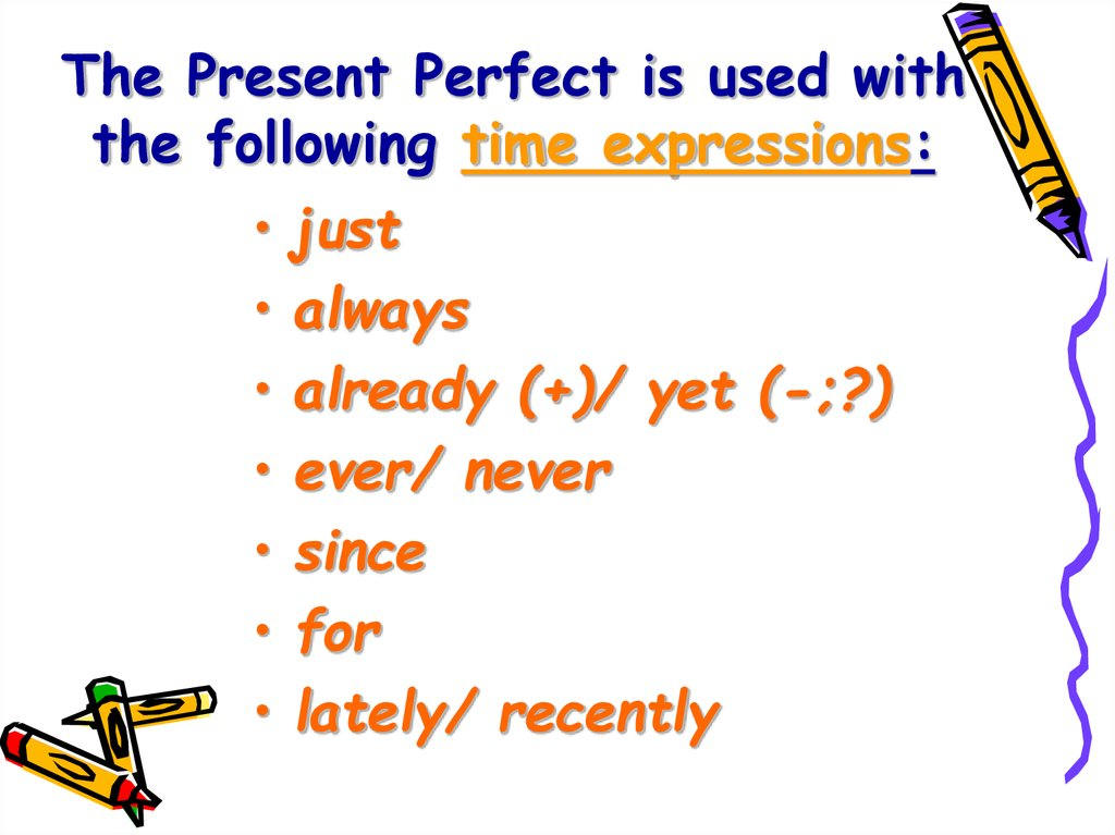 The Present Perfect is used with the following time expressions: