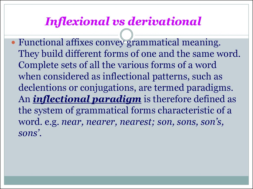 Inflexional vs derivational