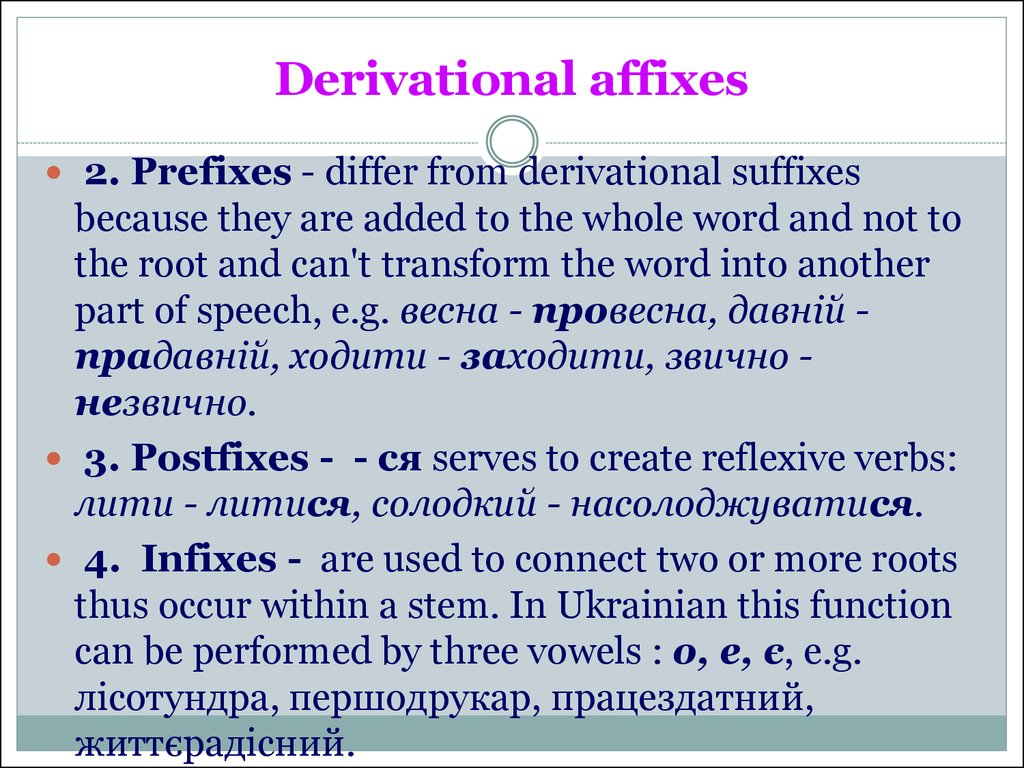 Derivational affixes