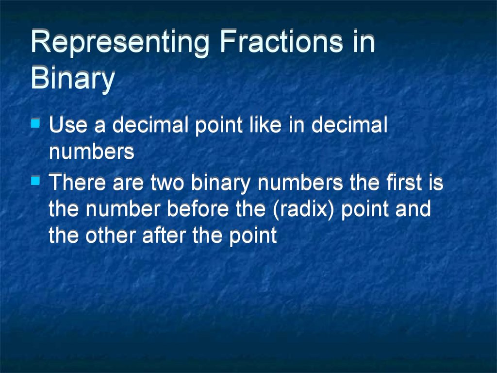 Representing Fractions in Binary