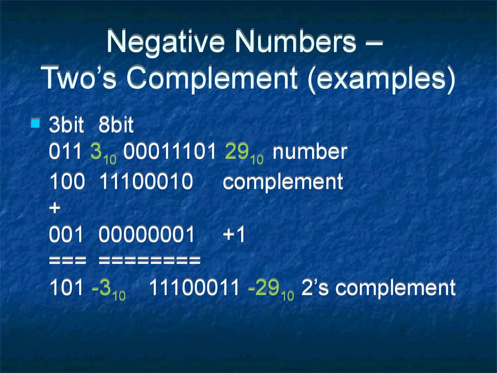 Negative Numbers – Two's Complement (examples)