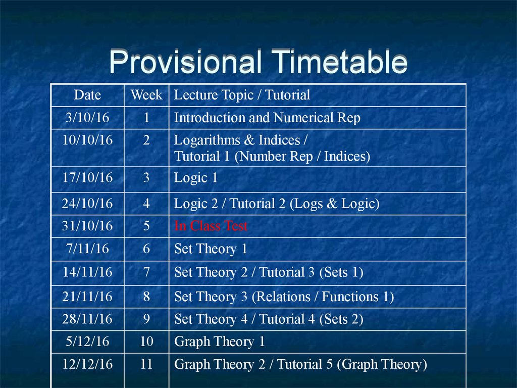 Mathematics for computing 2016 2017 lecture 1 course 5 provisional timetable baditri Gallery