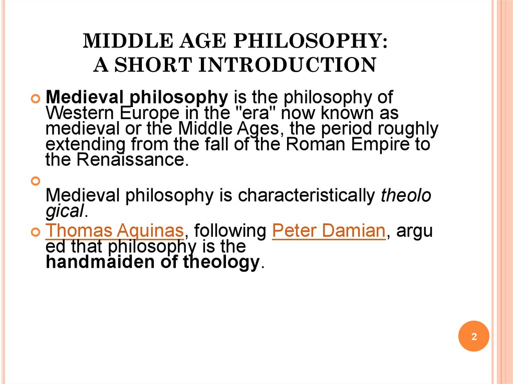 MIDDLE AGE PHILOSOPHY: A SHORT INTRODUCTION