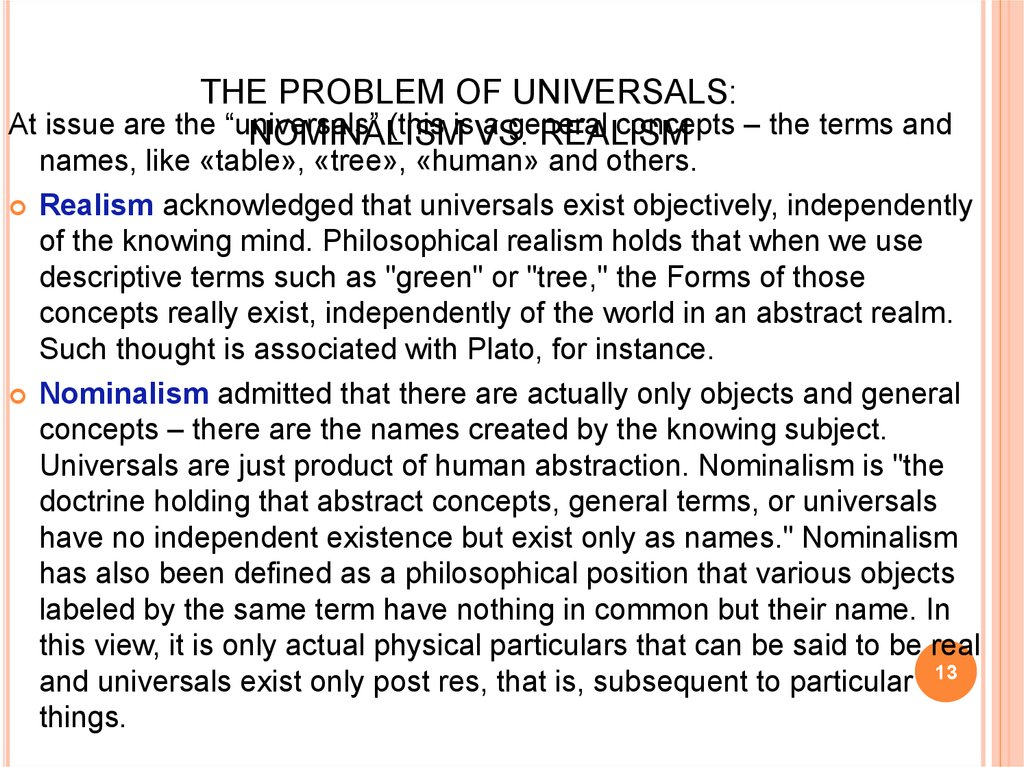 THE PROBLEM OF UNIVERSALS: NOMINALISM VS. REALISM