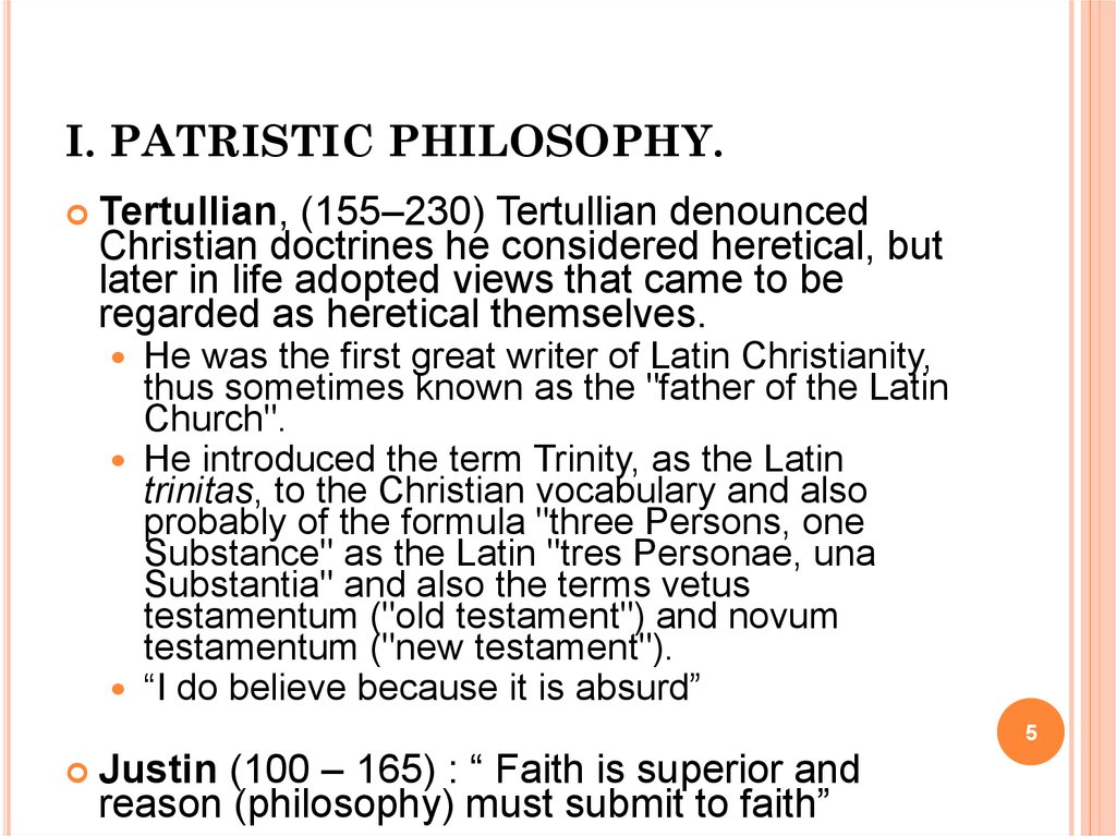 I. PATRISTIC PHILOSOPHY.
