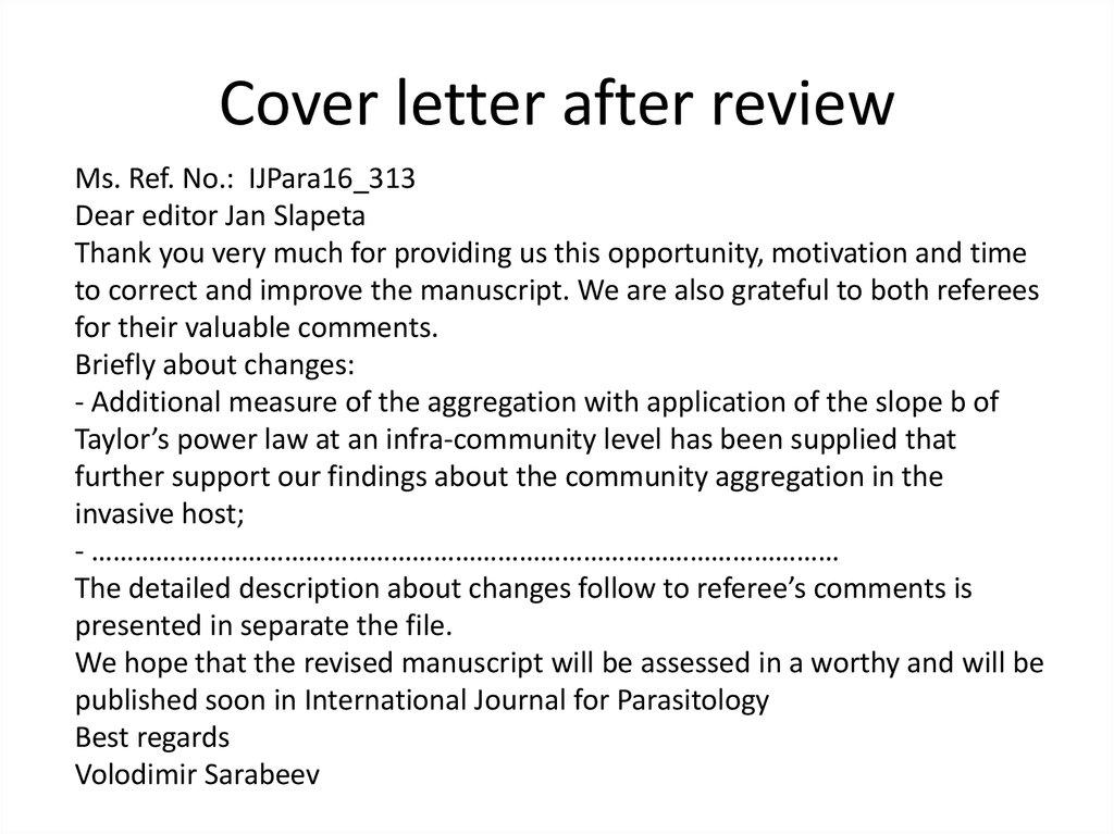 Cover letter after review