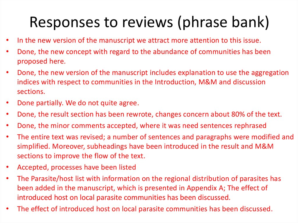 Responses to reviews (phrase bank)