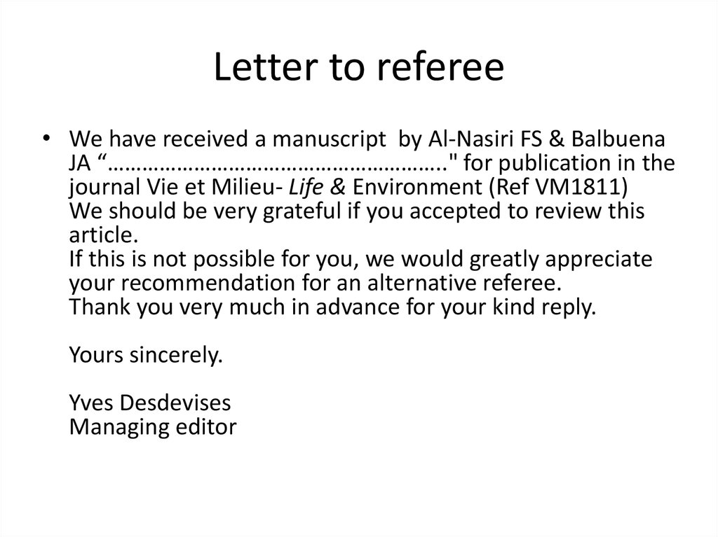 Letter to referee