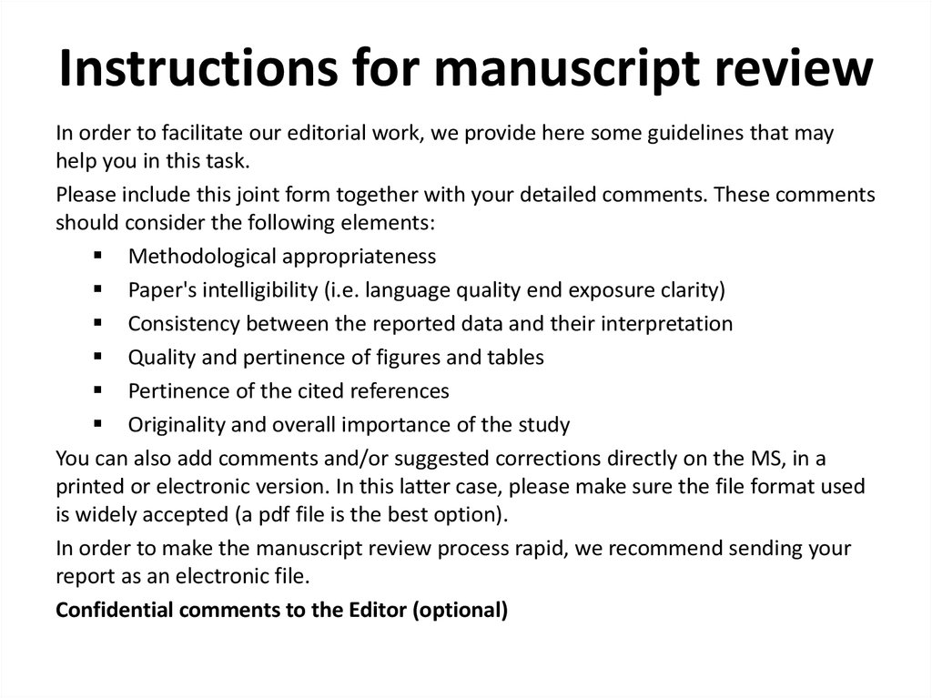 Instructions for manuscript review