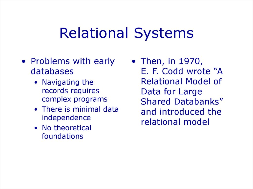 Relational Systems