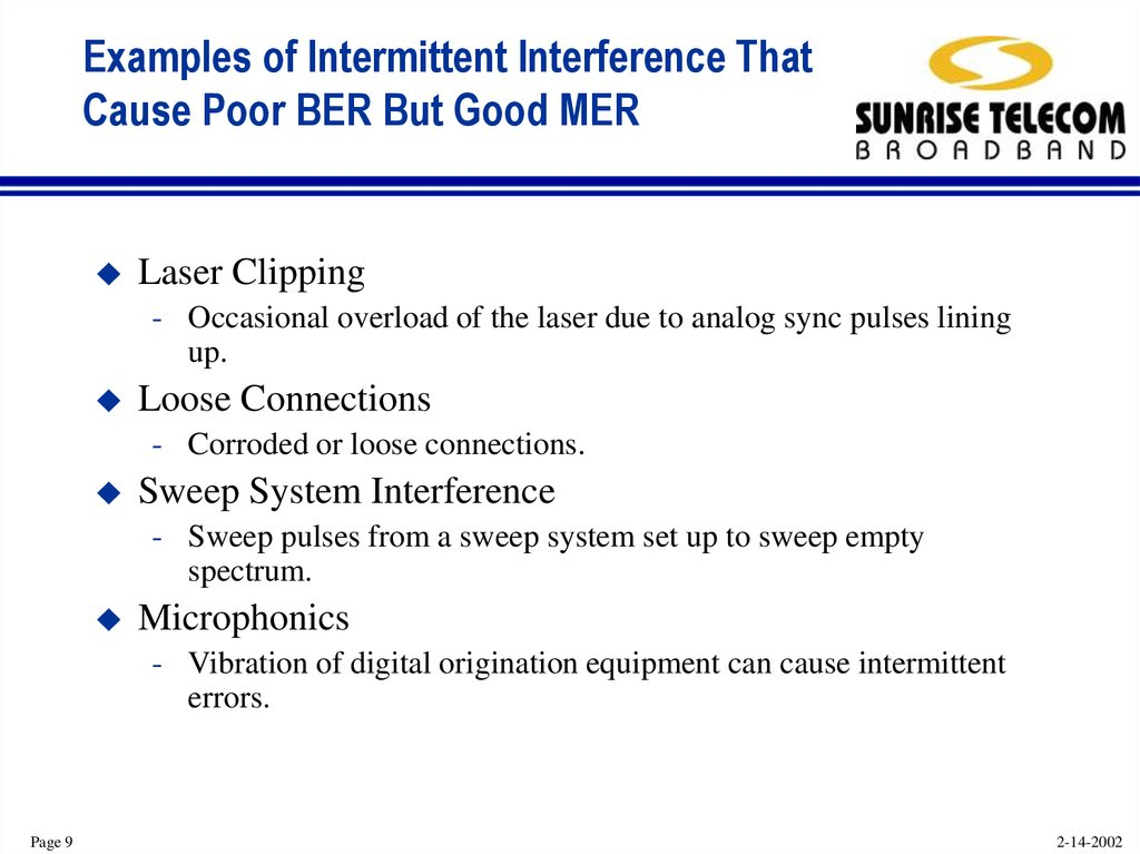 Examples of Intermittent Interference That Cause Poor BER But Good MER