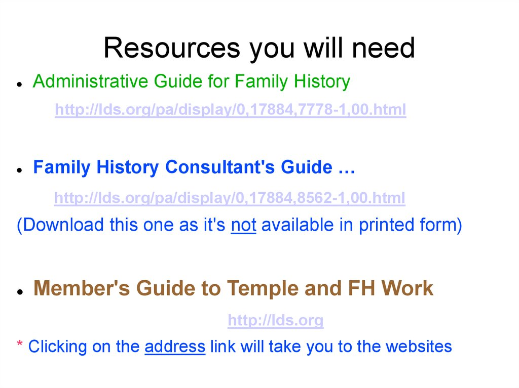 Overview of Family History - online presentation