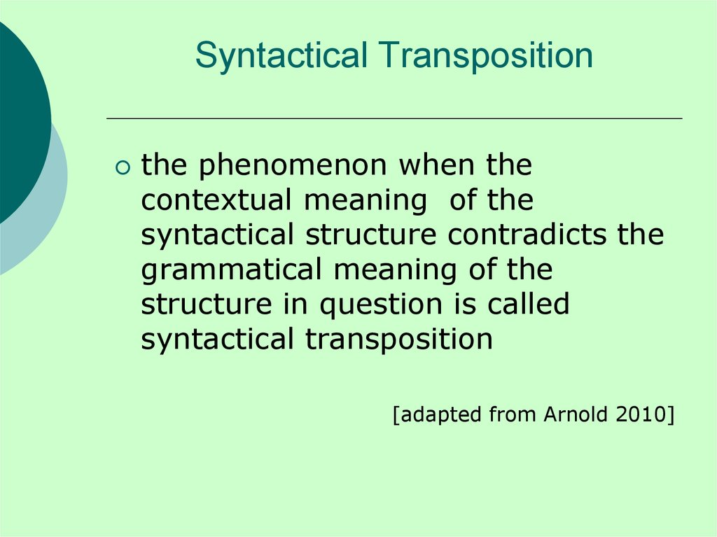 Syntactical Transposition