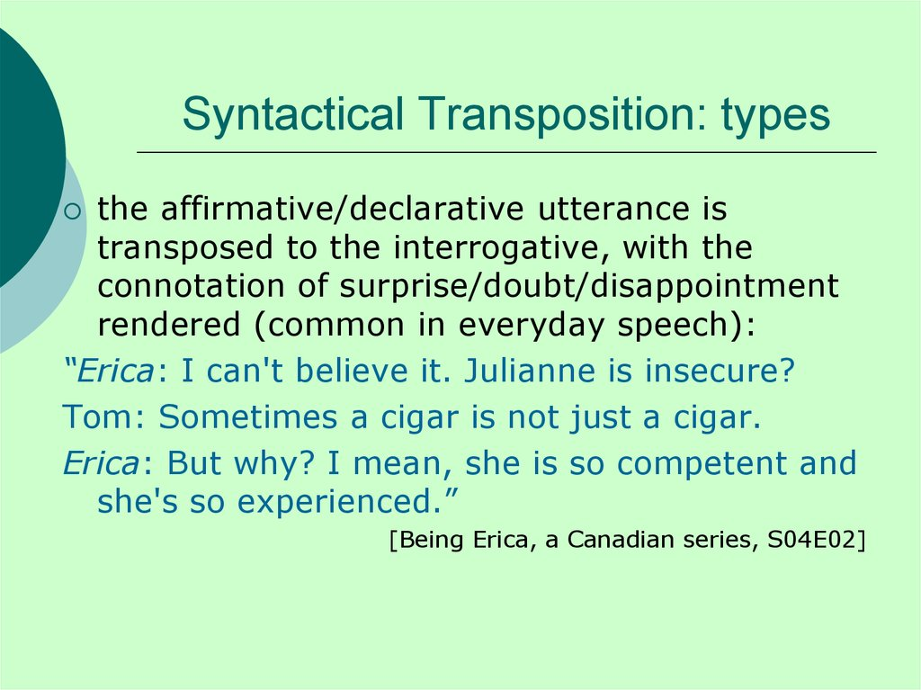 Syntactical Transposition: types