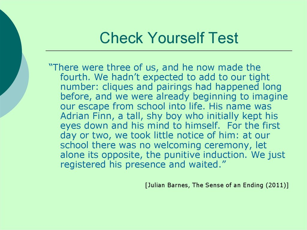 Check Yourself Test