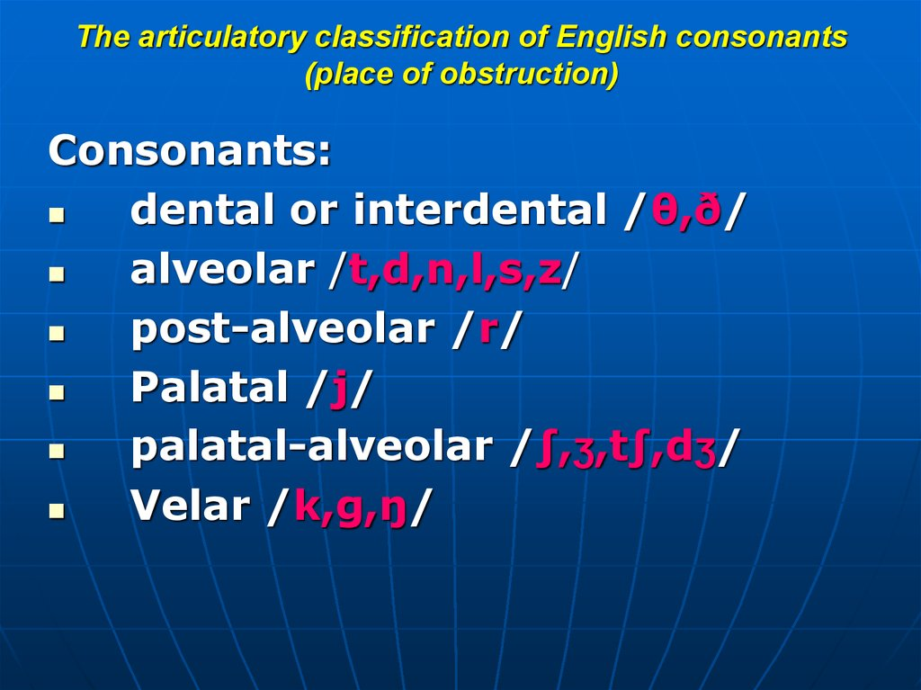 The articulatory classification of English consonants (active speech organ)