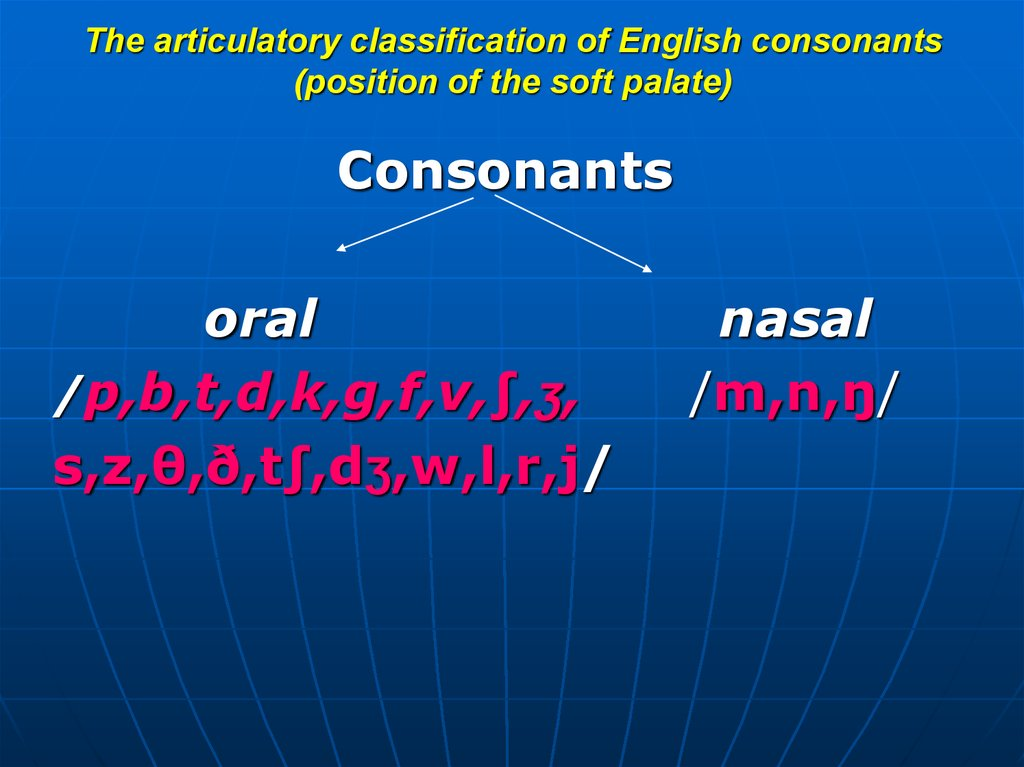 The articulatory classification of English consonants (type of obstruction and manner of noise production)