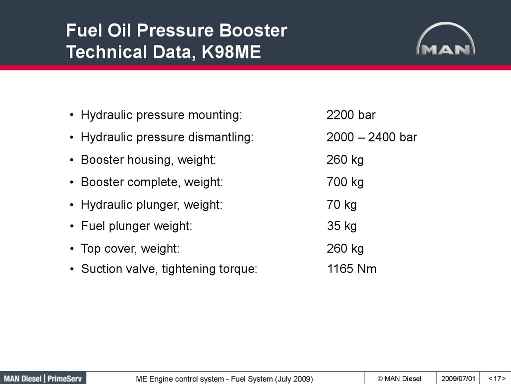 Fuel Oil Pressure Booster Technical Data, K98ME