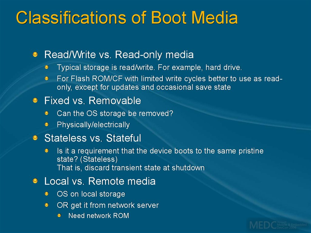 Classifications of Boot Media