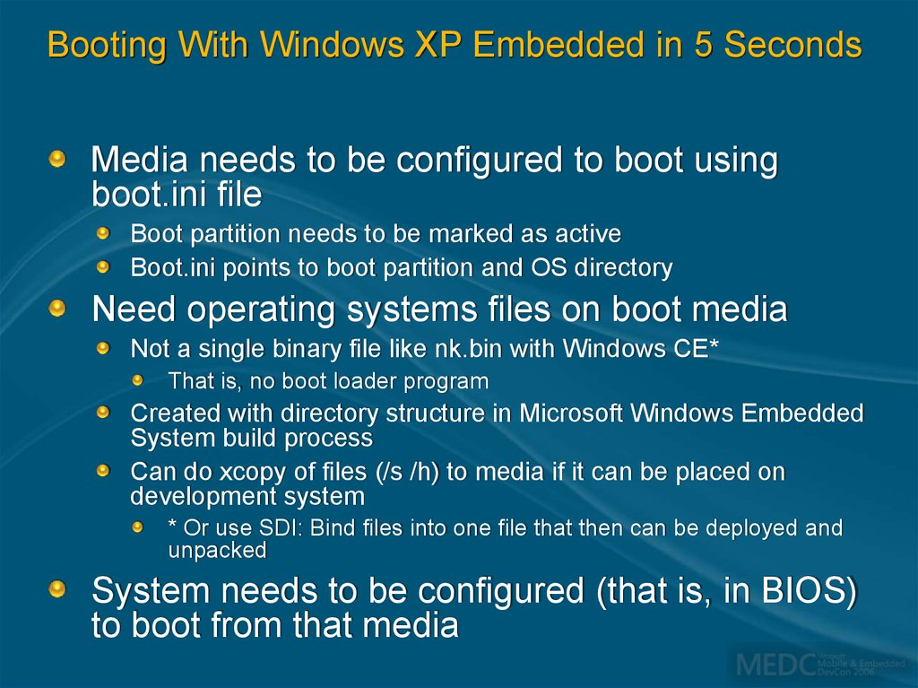 Booting With Windows XP Embedded in 5 Seconds