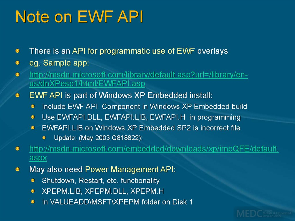 Note on EWF API