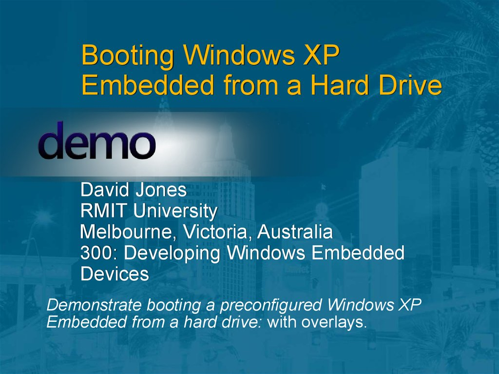Booting Windows XP Embedded from a Hard Drive