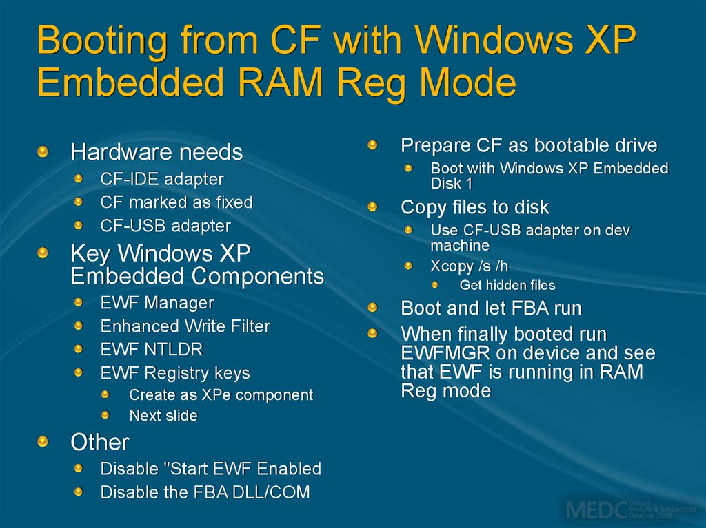 Booting from CF with Windows XP Embedded RAM Reg Mode