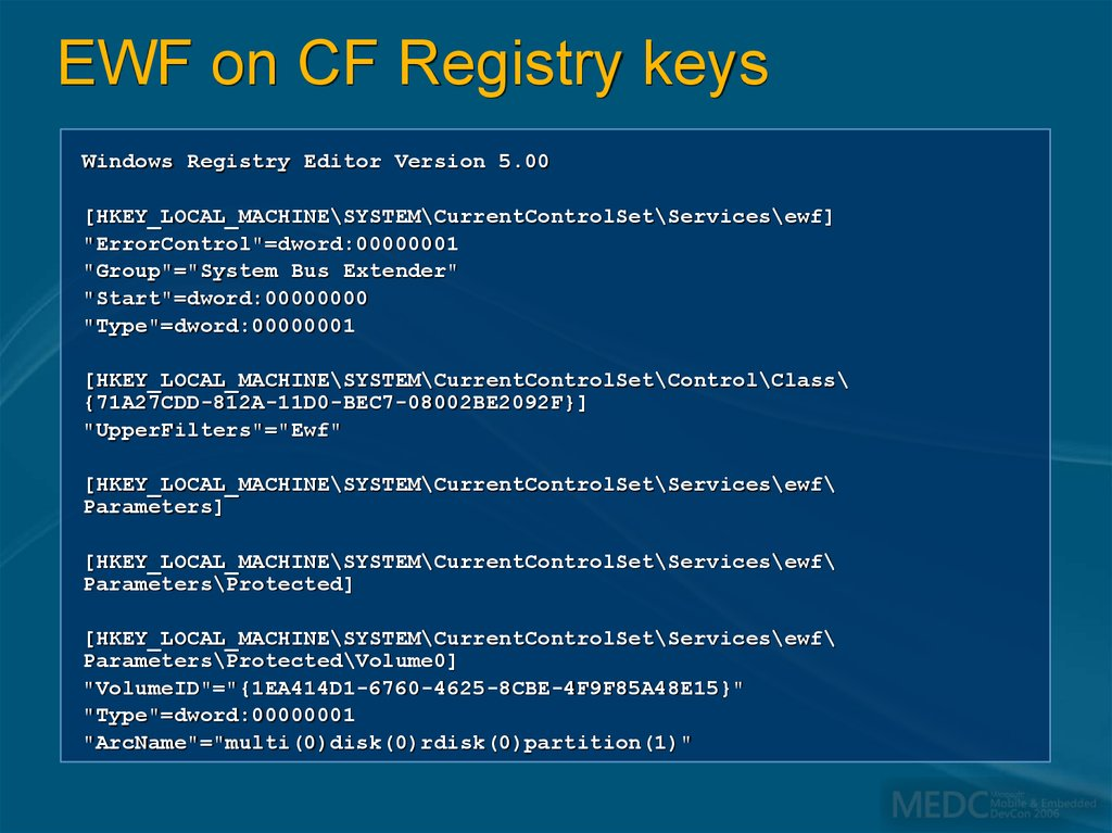 EWF on CF Registry keys