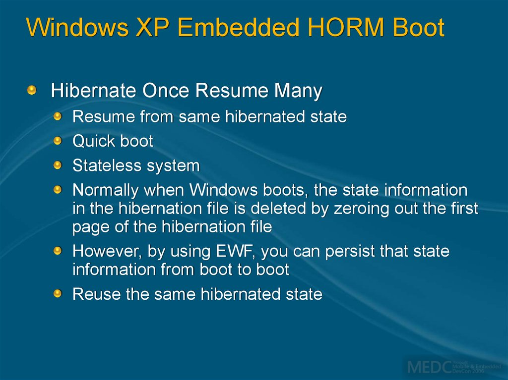 Windows XP Embedded HORM Boot