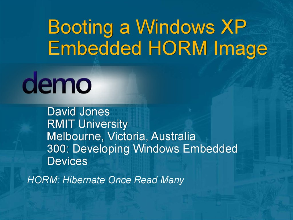 Booting a Windows XP Embedded HORM Image
