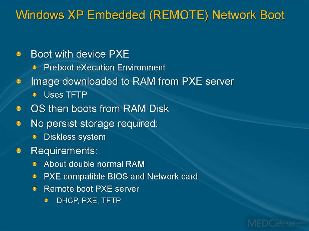 Windows XP Embedded (REMOTE) Network Boot
