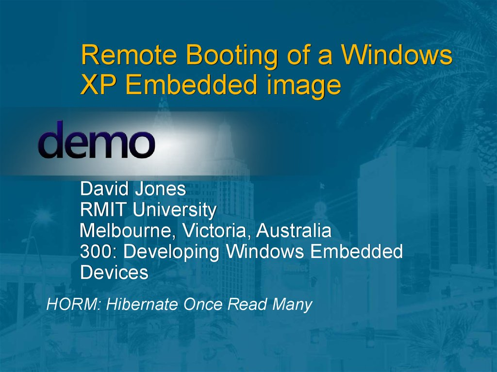 Remote Booting of a Windows XP Embedded image
