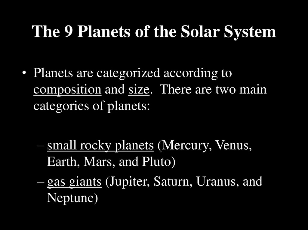 The 9 Planets of the Solar System