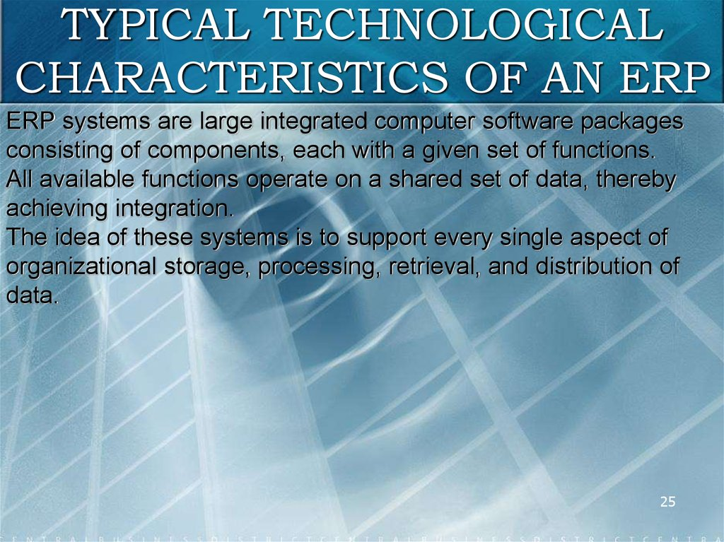 TYPICAL TECHNOLOGICAL CHARACTERISTICS OF AN ERP