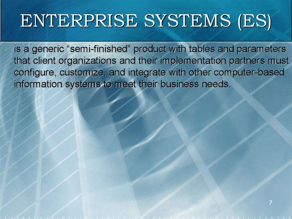 ENTERPRISE SYSTEMS (ES)