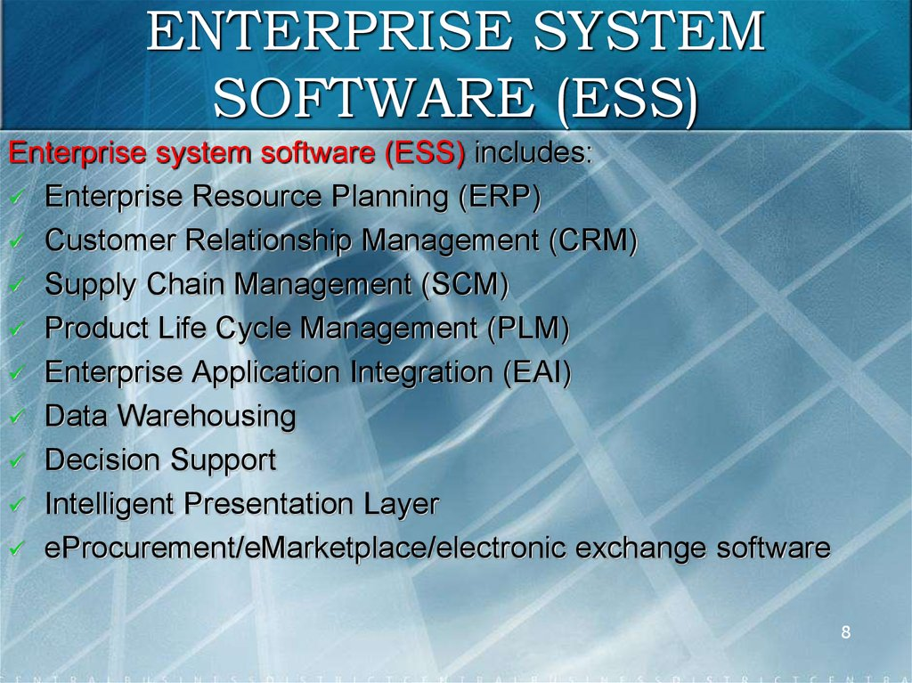 ENTERPRISE SYSTEM SOFTWARE (ESS)