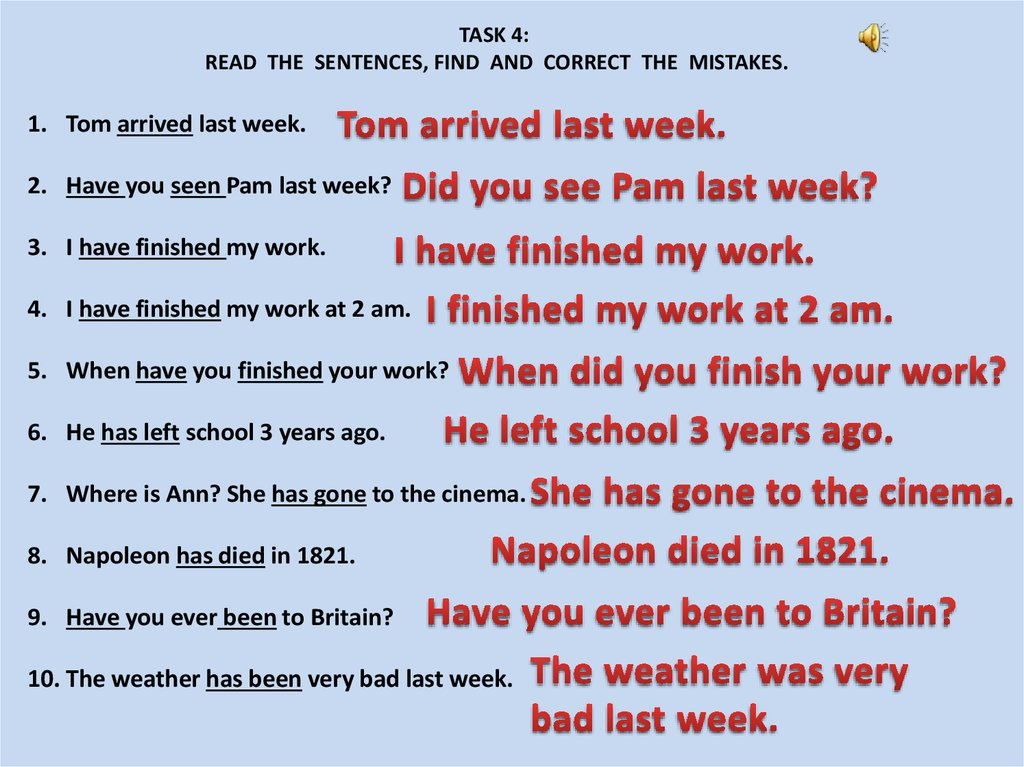 Present Perfect or Past Simple - online presentation