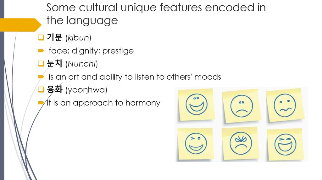 Some cultural unique features encoded in the language