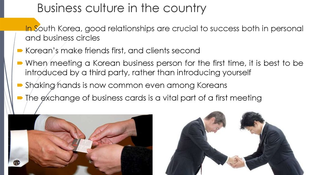 Business culture in the country