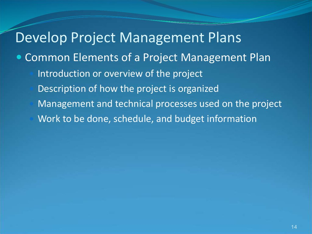 Develop Project Management Plans