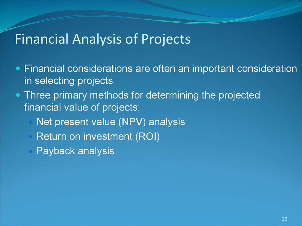 Financial Analysis of Projects