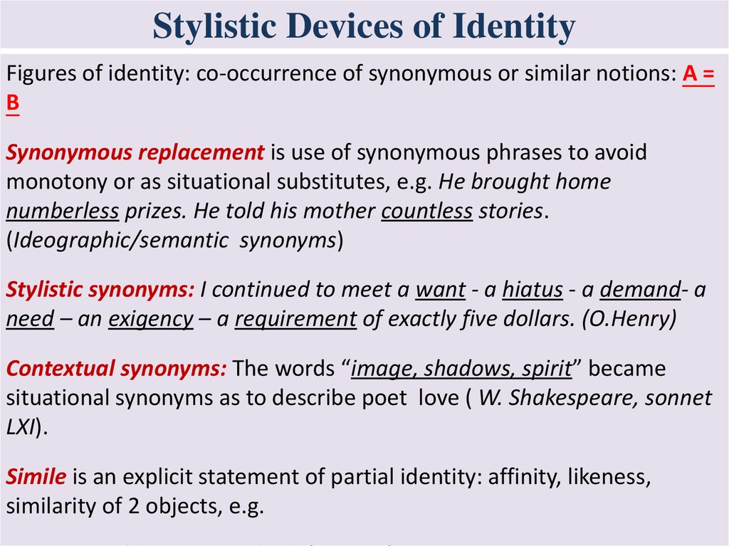stylistic devices of identity