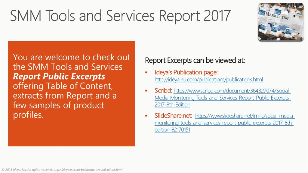 SMM Tools and Services Report 2017