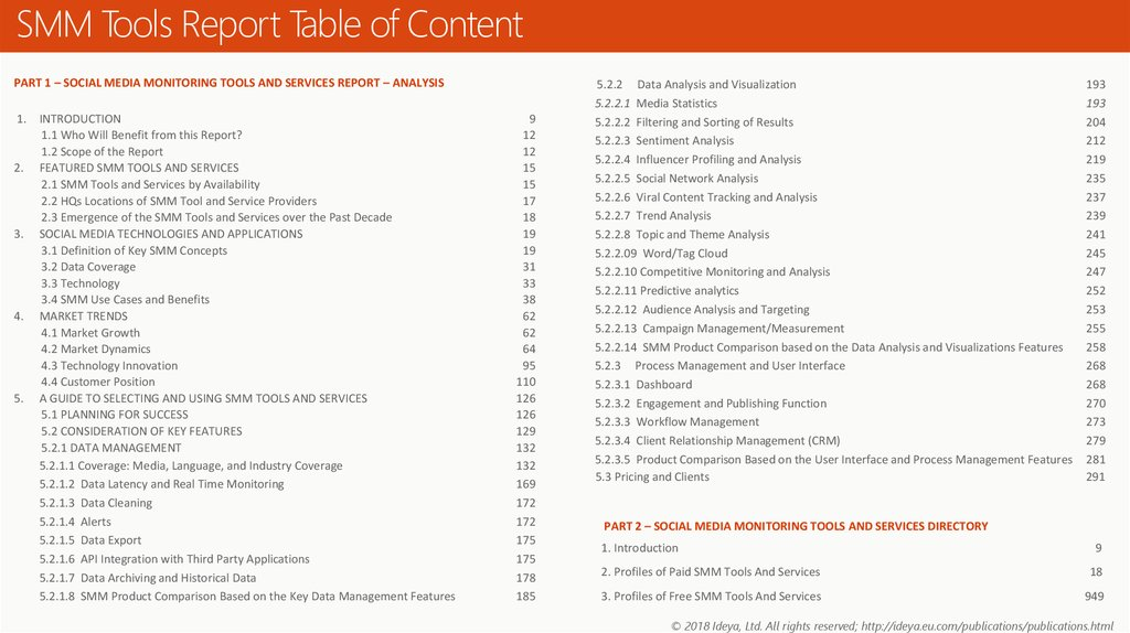 SMM Tools Report Table of Content