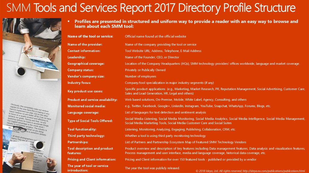 SMM Tools and Services Report 2017 Directory Profile Structure