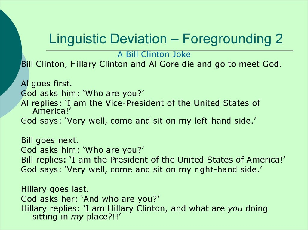 Linguistic Deviation – Foregrounding 2