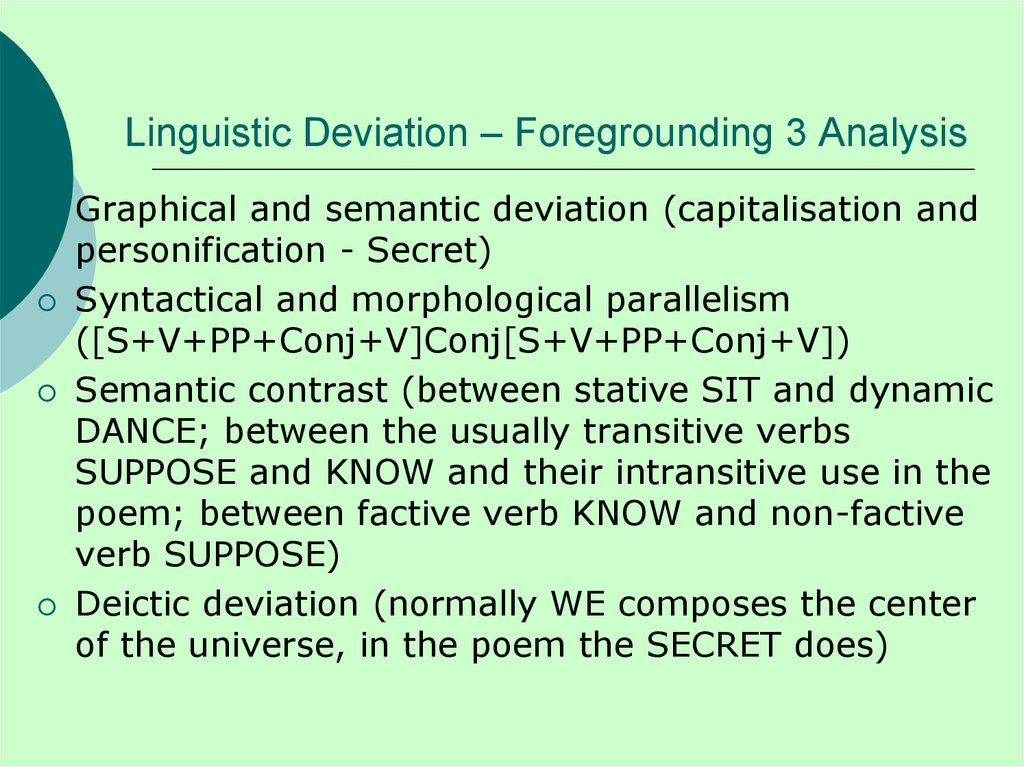 Linguistic Deviation – Foregrounding 3 Analysis