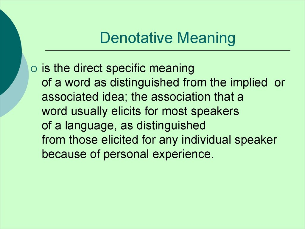 Denotative Meaning